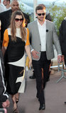 Jessica Biel donned a striking colorblocked dress and a matching yellow clutch while walking alongside Justin Timberlake in Cannes.