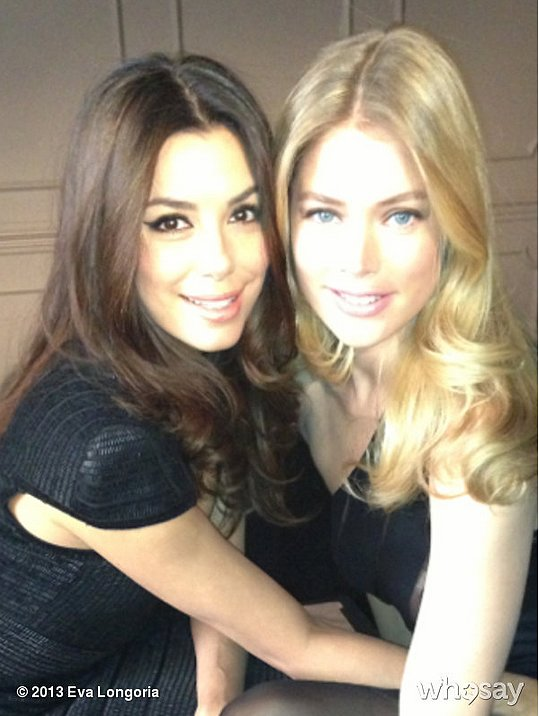 Eva Longoria shared a photo with Doutzen Kroes at a L'Oréal Paris photo shoot. Source: Eva Longoria on WhoSay