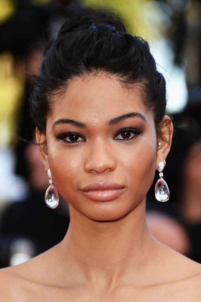 Chanel Iman accessorized with a dramatic pair of jeweled drop earrings.