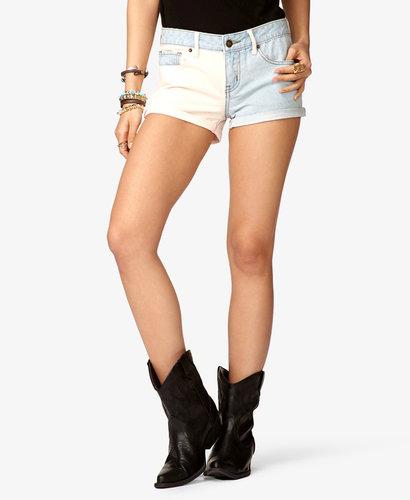 FOREVER 21 Two-Tone Denim Shorts