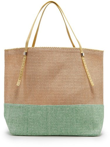 TOUCH - Two-tone straw tote bag
