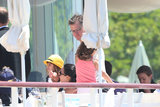Matt Damon had lunch with his family at Eden Roc Hotel in Antibes, France.