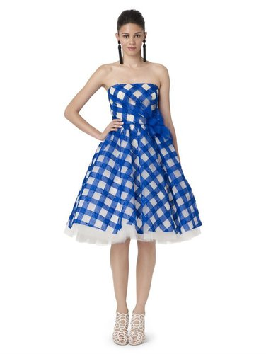 Strapless Embroidered Dress With Side Bow