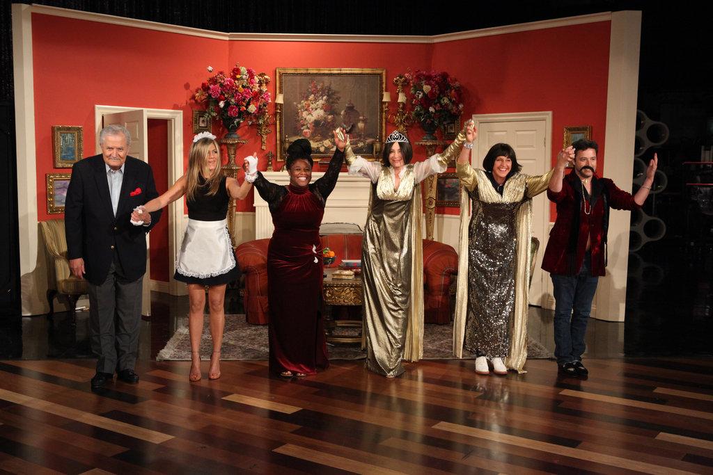 Jennifer Aniston and her dad, John Aniston, join Ellen DeGeneres and Portia de Rossi in a soap opera skit on The Ellen DeGeneres Show. Source: Michael Rozman/Warner Bros.