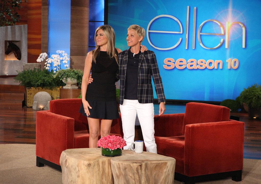 Jennifer Aniston cohosted with Ellen DeGeneres on her show. Source: Michael Rozman/Warner Bros.