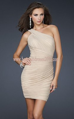 Nude Short Prom Dresses with One Strap Ruched for Sale