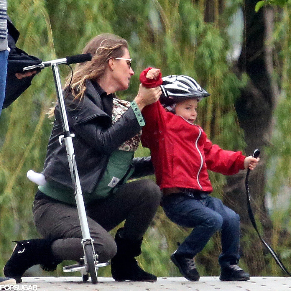 Gisele Bündchen helped Ben get up after a spill on his scooter.