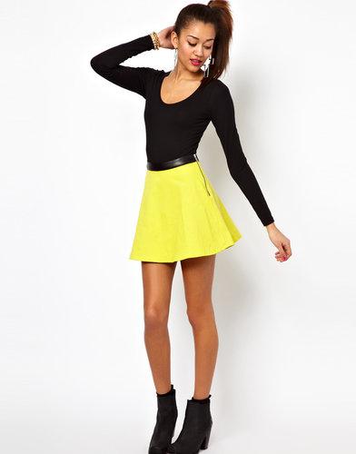 Motel Kadie Skater Skirt with PU Trim
