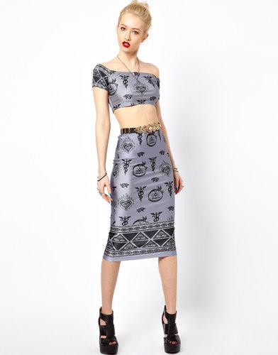 Freak of Nature Midi Skirt In Isis Queen Print