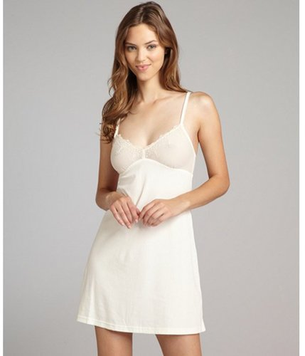 Cosabella cream ribbed cotton blend lace 'Lucia' babydoll chemise