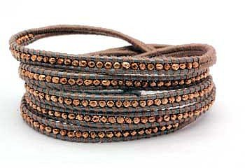 Chan Luu Rose Gold Vermeil Nuggets on Taupe Leather Wrap Bracelet