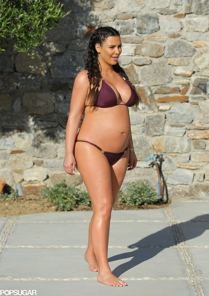 Kim Kardashian went on a family vacation while pregnant in April 2013.