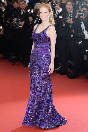 Jessica Chastain made the flashes go wild in her purple beaded Givenchy Haute Couture gown at the All Is Lost premiere at Cannes.