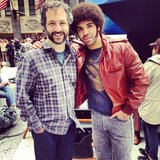 "Drake posed in costume with one of his ""heroes,"" Judd Apatow, on the set of Anchorman 2. Source: Instagram user champagnepapi"