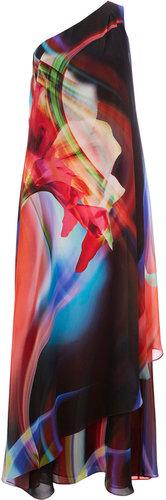 Floral Print One Shoulder Maxi Dress