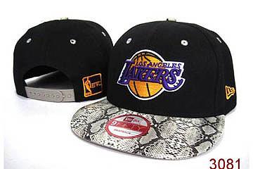 NBA Lakers Snapback Caps Yellow Logo And Grey Snake Print Bongrace Black/Purple 82716
