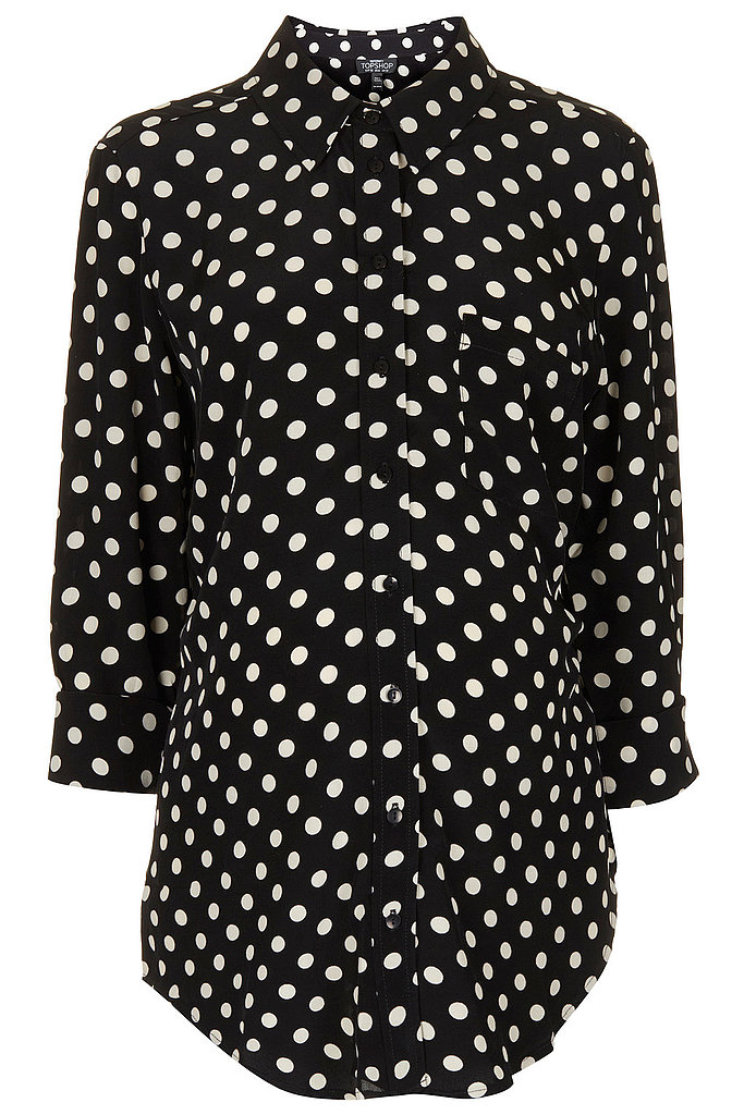 Shop like a (budget-conscious) princess at Topshop — one of Kate's favorites! The brand's oversize maternity spot shirt ($76) would look great with white jeans or shorts for Summer.