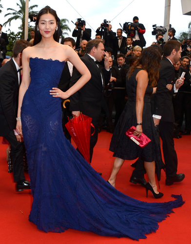 For the All Is Lost premiere, Liu Wen chose a strapless navy Cavalli gown with a dramatic train.