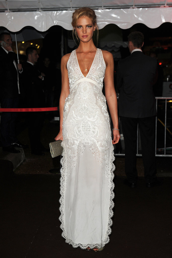 The fresh white dress Erin Heatherton picked for the Cavalli event feels spot-on for Summer.