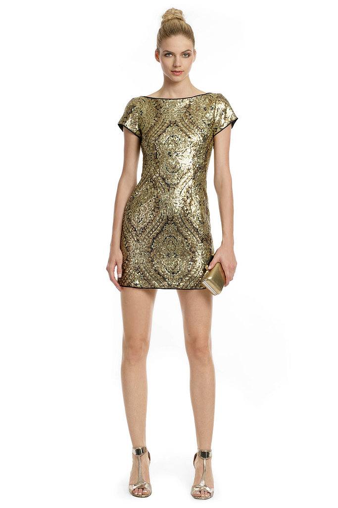 If you saw Beyoncé's Met gala gown with its golden embroidery, it comes as no surprise that she went for this sexy showstopper mini by Nanette Lepore ($90 to rent), which will keep you shining all night long.