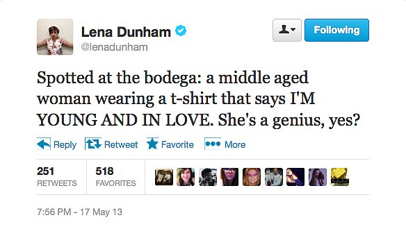@lenadunham commends an optimistic woman.