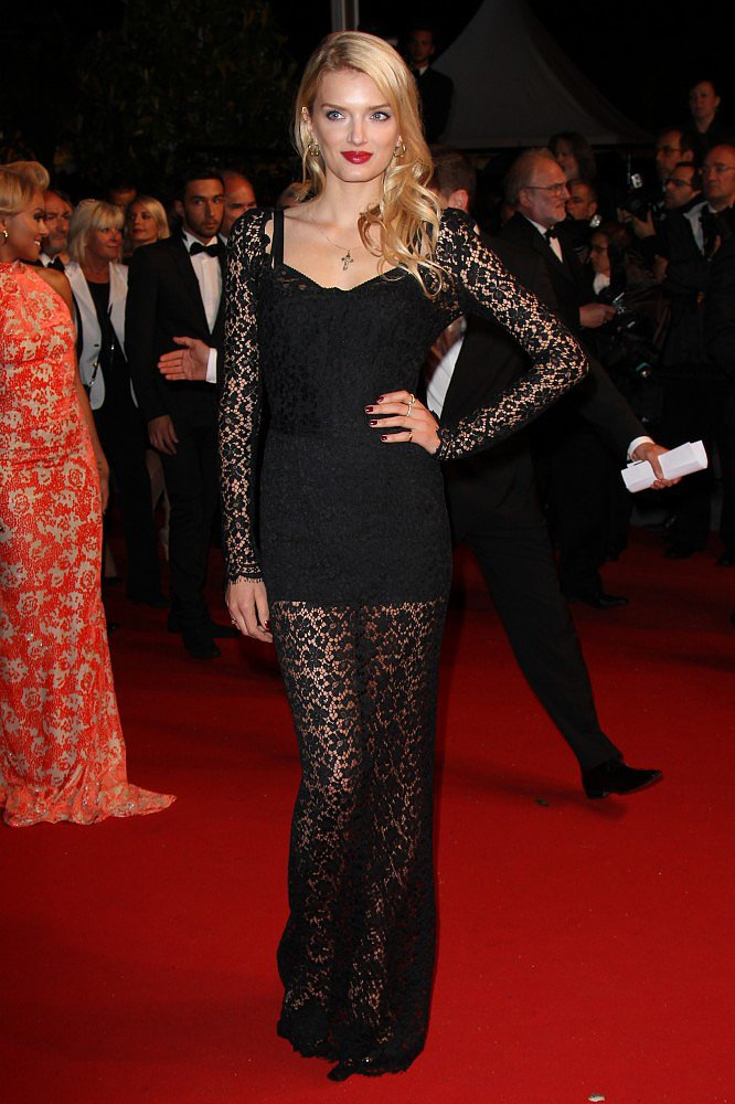Spotted at the Only God Forgives premiere, Lily Donaldson's long-sleeves and floor-length gown still felt sexy thanks to the sheer fabric.