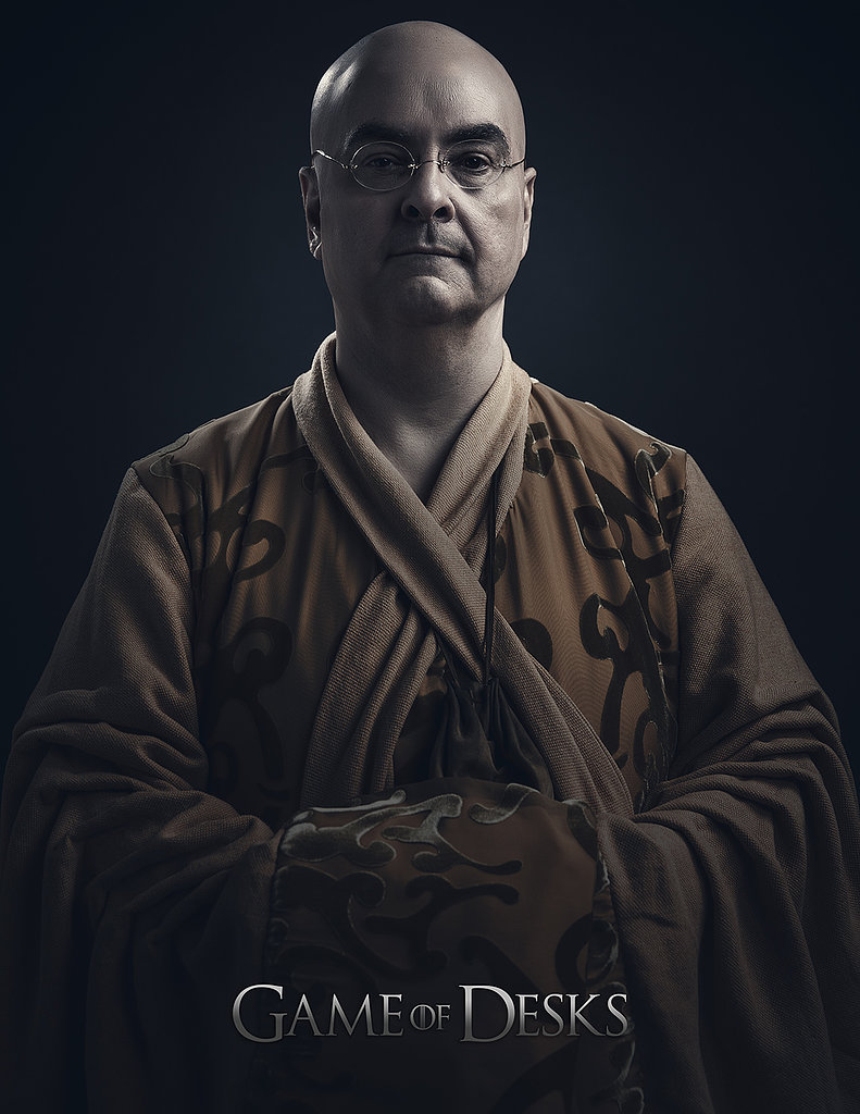 With a bald head and robe, Steve Higgins transforms into Varys.