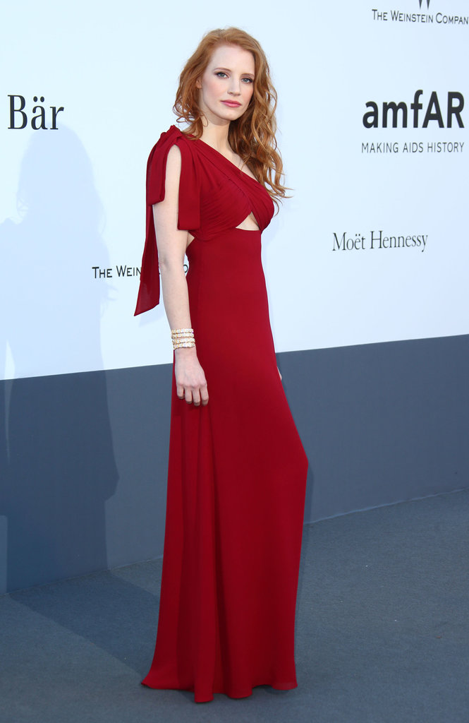Jessica Chastain struck a pose at the annual amfAR event in Cannes on Thursday.