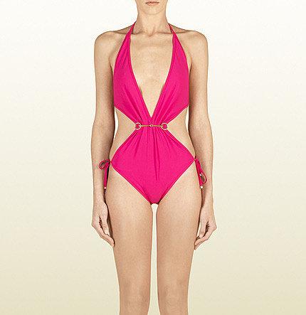 Fuchsia Pink Gathered Front One Piece Swimwear