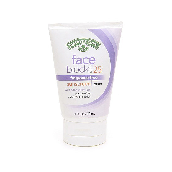Looking for a sunscreen whose ingredients you can understand? Nature's Gate Face Block Sunscreen SPF 25 ($8) keeps your face protected from the sun with guava, almond, and tomato extracts as well as cucumber, aloe, and chamomile.