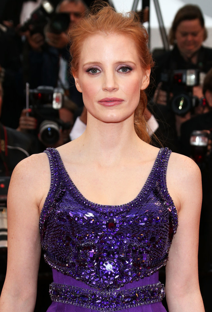 Jessica Chastain stepped away from her usual sleek look opting for a tousled ponytail.