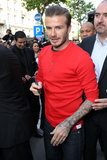 David Beckham Keeps His Shirt on to Promote His Skivvies in Paris