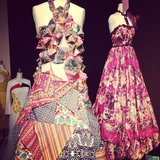Patchwork creations at the Parsons Fashion Benefit.