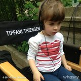 Tiffani Thiessen had a very cute visitor on the set of White Collar this week. Source: Instagram user tathiessen