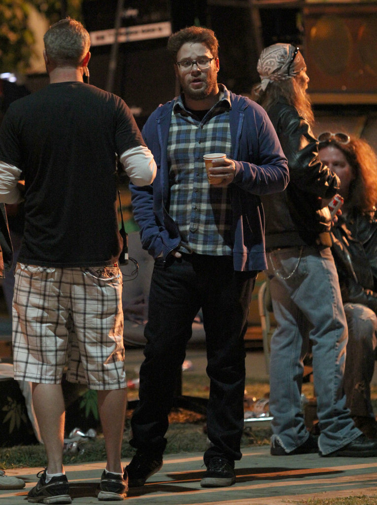 Seth Rogen worked into the night in LA on Wednesday for Townies.