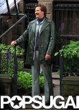 Will Ferrell laughed between takes on Monday in NYC while continuing work on Anchorman 2.