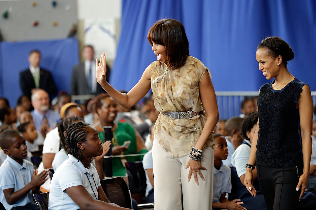 Michelle Obama and Kerry Washington met with students at Savoy Elementary School in Washington DC.