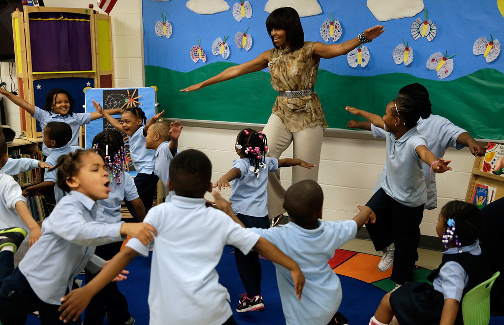 Michelle Obama did exercises with Savoy students.