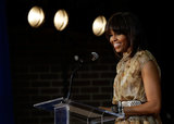 Michelle Obama spoke on stage to students and teachers at Savoy Elementary School.