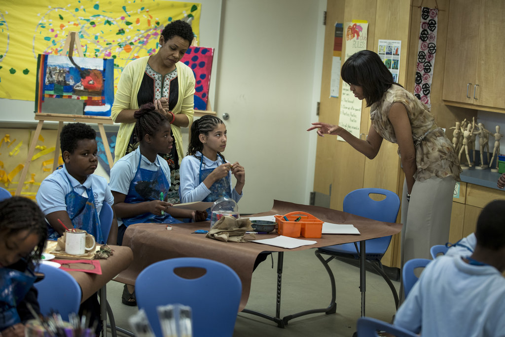 Michelle Obama visited a classroom.