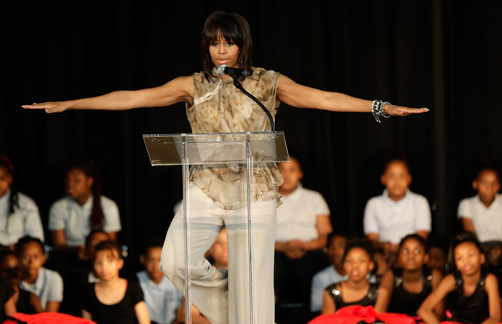 Michelle Obama showed off her yoga moves Michelle Obama Strikes A New Pose
