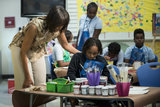Michelle Obama spoke to students at Savoy Elementary