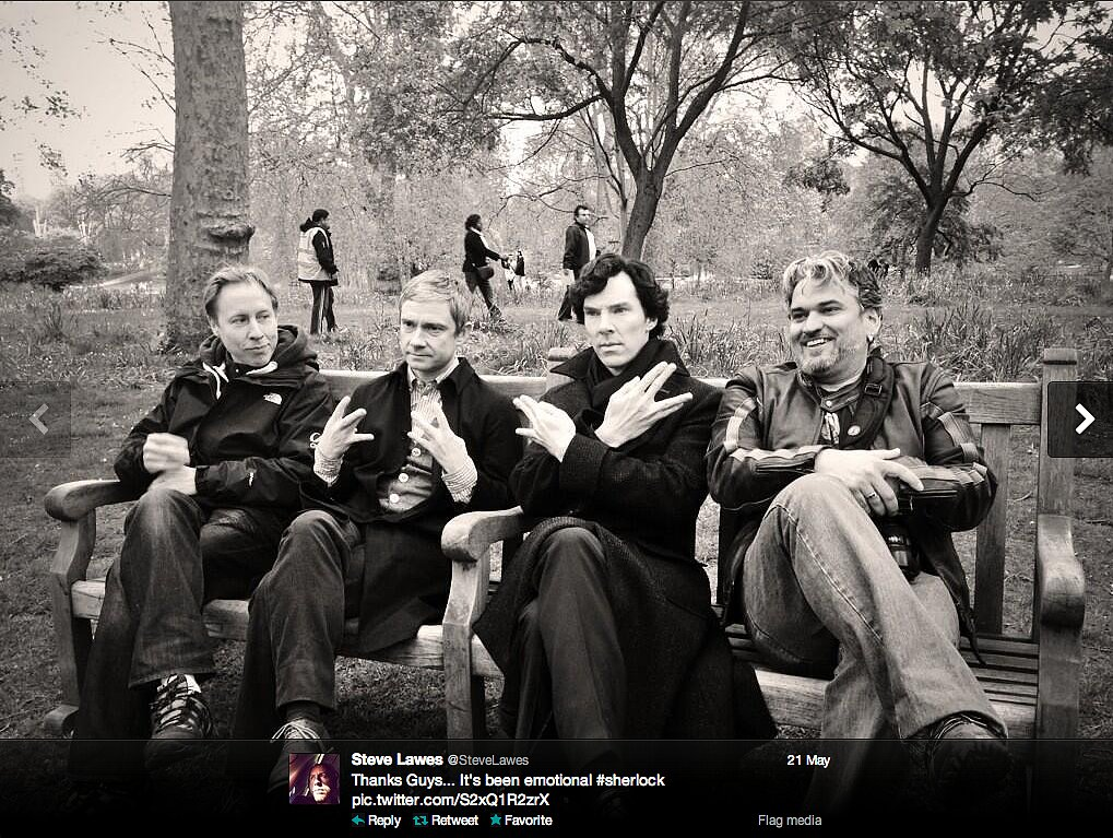 Steve Lawes, director of photography on Sherlock, wrapped the show's third season with the biggest gangsters in geekland: Martin Freeman and Benedict Cumberbatch.