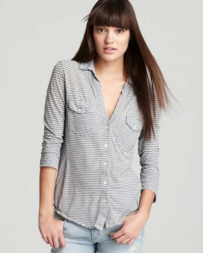 James Perse Shirt - Soft Paneled Stripe Jersey