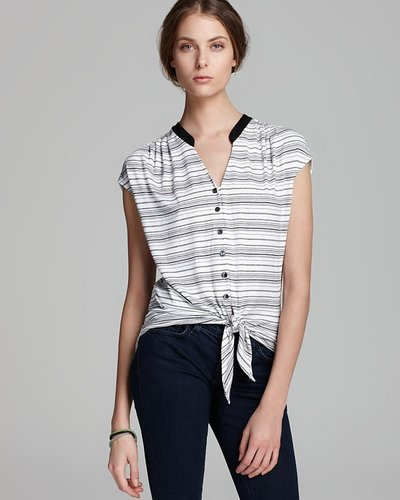 Quotation: Red Haute Top - Striped Tie Front Henley