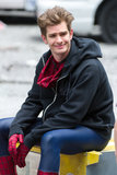 Andrew Garfield smiled on set in NYC.