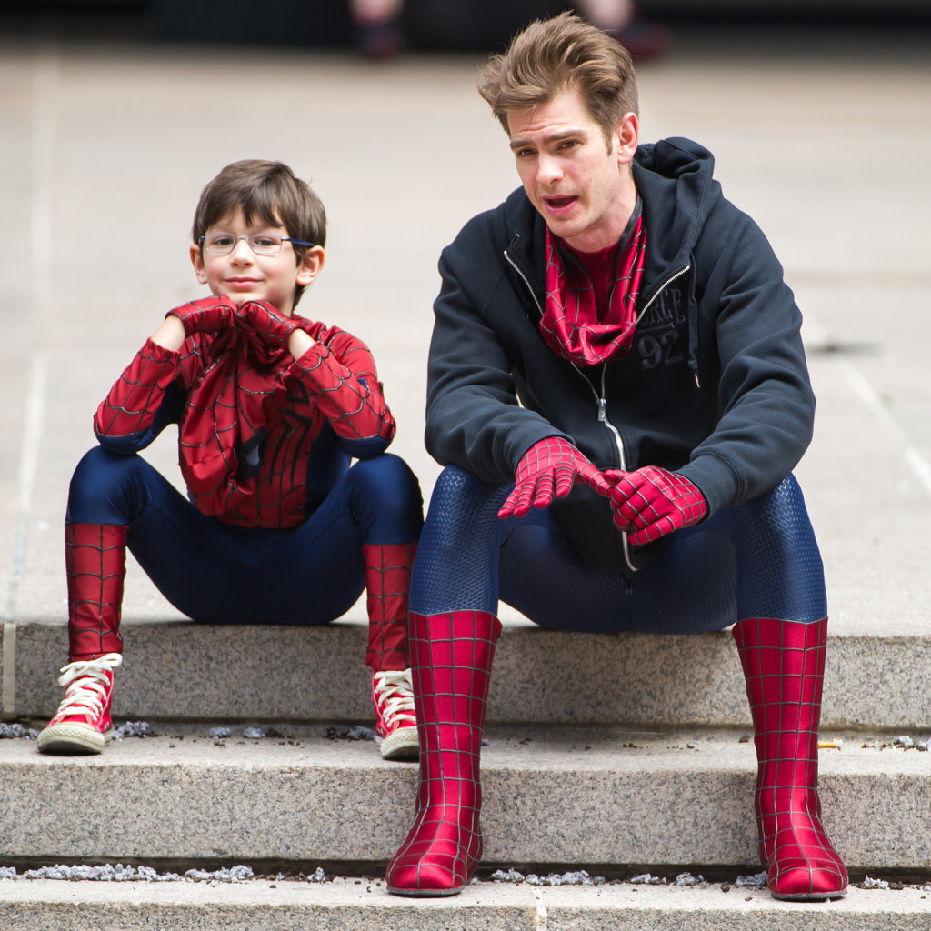 Andrew and Jorge Vegas, who plays a young Spider-Man, spent some downtime together on set in NYC in May 2013.