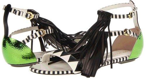 Sergio Rossi - Flat Fringe Sandal (Green Multi) - Footwear