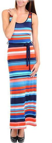 Stanzino Women's Navy, Orange and Blue Striped Maxi Dress with Sash