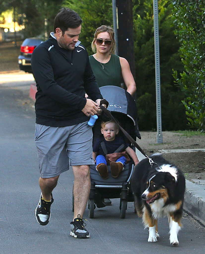 Hilary Duff and Mike Comrie took their dog and son Luca for a walk in LA on Saturday.